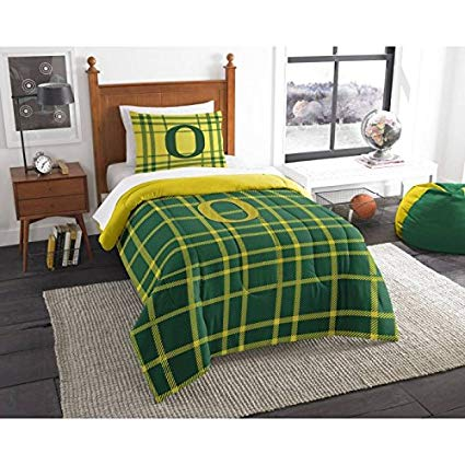 Officially Licensed NCAA Twin Bed Applique Comforter and Bedding Set - Oregon Ducks