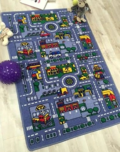 UNITED SALES CHILDREN DRIVING FUN CITY MAP CARPET (8X11(7FT.4INX10FT.4IN))