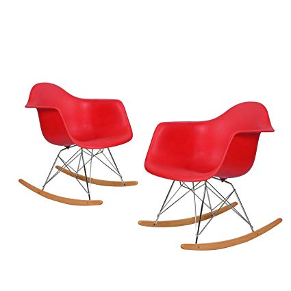 Charles & Ray Eames Modern Rocking Armchair Rocker, Reception Seat, Set of 2