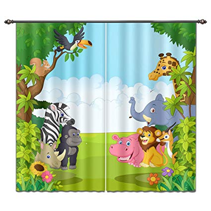LB Cartoon Animals in Jungle House Decor Window Curtain by, Wildlife Forest Kids Boys Room Curtain Drapes, Living Room Decoration Window Treatment, 84x84 Inches (2 Panels Size)