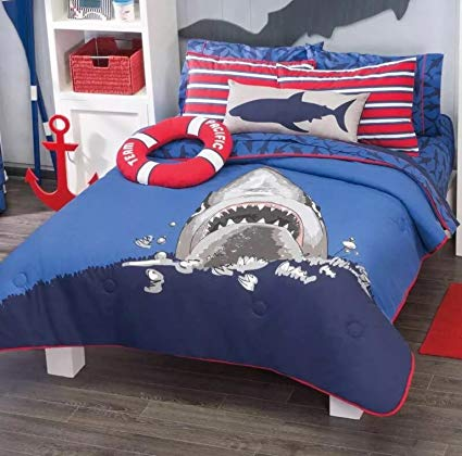 Home Bedding Fancy&Cool Kids Collection Shark Attack Reversible Luxury Comforter Set 100% Guarantee TWIN SIZE (Twin)