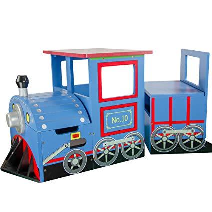 Teamson Kids - Little Kids Blue Train Writing Desk on Wheels and Storage Bench Set