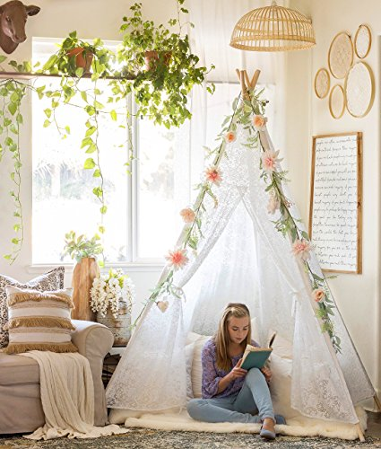 Tiny Land Luxury Lace Teepee Tent for Girls & Adults (XX-Large 7' Tall) 5-Poles Lace Canopy for Indoor & Outdoor Use | Wedding, Birthday, Boho Décor | Photography Prop