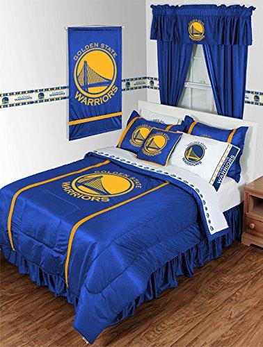 GOLDEN STATE WARRIORS 3 Piece QUEEN BEDDING SET, Comforter, 2 - Pillowcases, Logo NBA Boys Basketball