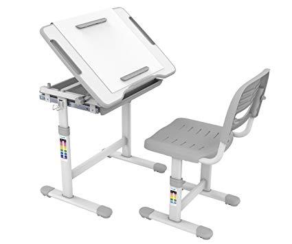 ProHT Height Adjustable Children Desk & Chair Sets (05489A) Kids Interactive Work Station w/Drawer Storage, Tilting Desktop &Paper Roll Holder, Ergonomic Design for Kids, Boys &Girls-Gray
