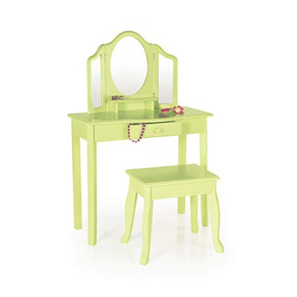 Guidecraft Vanity and Stool – Light Green: Kids Table and Stool Set with Mirror, Make-Up Drawer - Children's Room Furniture