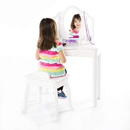 Guidecraft Classic White Vanity Table and Stool Set with Mirror and Make-Up Drawer - Children's Furniture