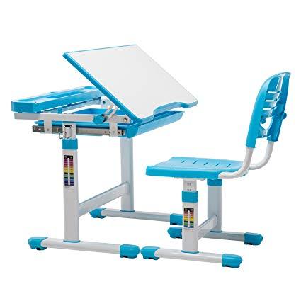 Children's Desk Chair Set, Height Adjustable Kids Student School Study Table Work Station with Storage,Blue