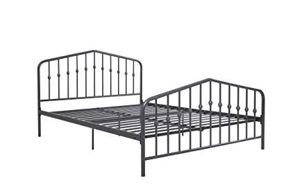 Novogratz Bushwick Metal Bed, Modern Design, Full Size - Grey