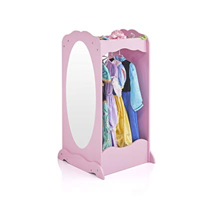 Guidecraft Dress Up Cubby Center – Pink: Wooden Costumes Storage Shelf with Mirror for Little Girls, Toddlers Wardrobe Closet