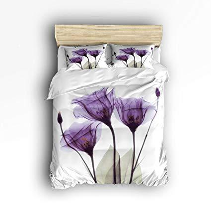 Libaoge 4 Piece Bed Sheets Set, Purple Flower