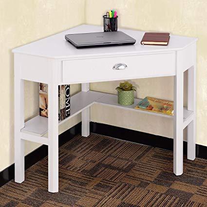 Apontus Corner Wooden PC Laptop Computer Desk - White