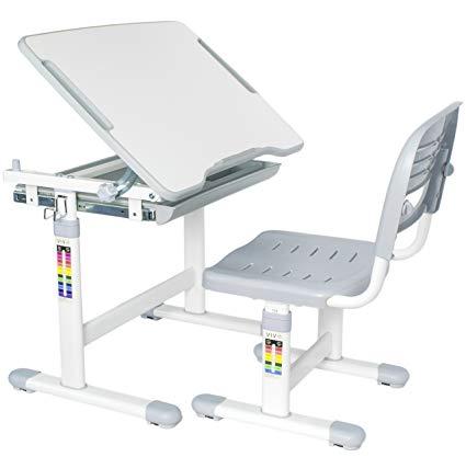VIVO Height Adjustable Children's Desk and Chair Set, Grey