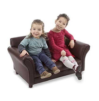 Melissa & Doug Child's Sofa - Coffee Faux Leather Children's Furniture