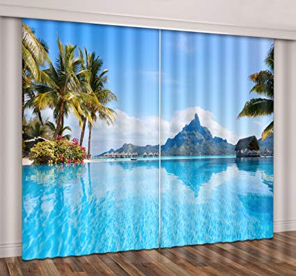 LB Ocean Window Curtains for Living Room Bedroom,Blue Sea Water Surrounded by Palm Trees and Mountains Window Treatment Room Darkening Blackout Window Drapes 2 Panels,42 x 84 Inches