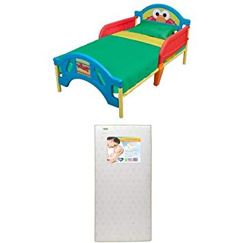 Plastic Toddler Bed, Sesame Street with Twinkle Stars Crib & Toddler Mattress