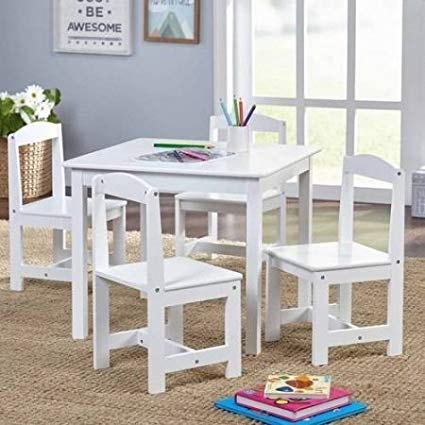 Sturdy Set and Easy to Clean Hayden Kids' Table and Chairs Set, Multiple Colors, 5-Piece (White)