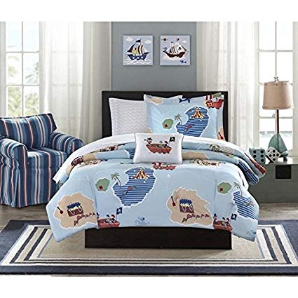 Mizone Boys and Girls sky blue 8-piece Pirate Bed in a Bag Comforter Set. Kids Bedding Set. Choose Twin or Full Size Includes Scented Candle Tarts (Full)