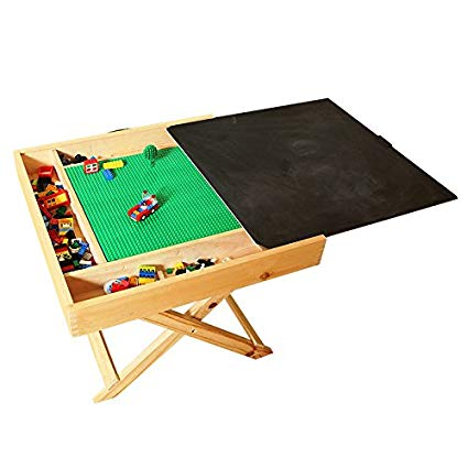 Wooden LEGO Compatible Play Table for LEGO, Yenny shop, Kids 2-in-1 Activity Table with Storage and Chalkboard - Double-Sided Play Board Design with Travel Carry Handle for Kids & Children