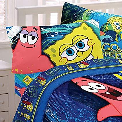 Hyper Spongebob Squarepants Twin Cotton Sheet Set