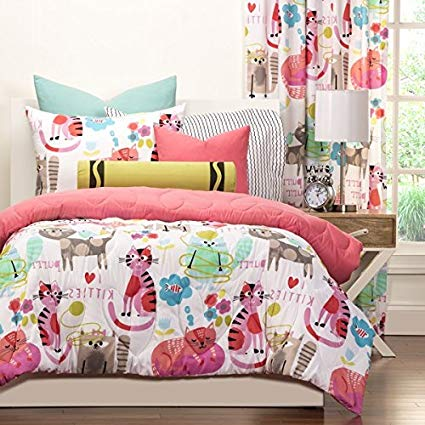 3 Piece Girls Kids Cat Comforter Full Queen, Cute Adorable Kittens Bedding for Children, All Over Kitty Kats Lovers Pink Themed, Beautiful Bright Colors!