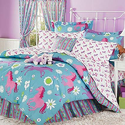 Purple, Blue & Pink Pony Horse Kids Twin Comforter Set (6 Piece Bed In A Bag) + HOMEMADE WAX MELT