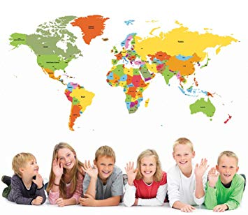 PopDecors Educational World Map 98 inch for Kids Room Wall Decal Vinyl Wall Sticker Wall Mural...
