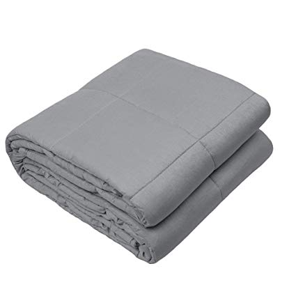 Viki Breathable Weighted Stress Blanket (60''x 80'', 18lbs for 170-190lbs individual, Dark Grey) for Youths, Men, Women | Great for Anxiety, ADHD, Autism, OCD and Insomnia | Fit King Size Bed