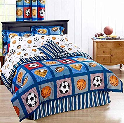 BOYS SPORTS PATCH Football Basketball Soccer Balls Baseball Blue REVERSIBLE Comforter Set (QUEEN SIZE 8pc Bed In A Bag)