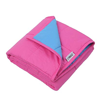 ZonLi Autism Weighted Blanket (10lbs for 90-120 lbs individual, 41''x60'', Pink/Blue) for Kids, Girls and Boys | Great for Insomnia, Autism, Stress and Anxiety Relief | Fit Twin or Full Sized Bed