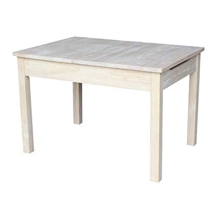 International Concepts Unfinished Table with Lift Up Top for Storage