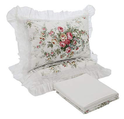 HOMIGOO Korean Fairy Girls Bedding Set Floral Pure Cotton Comforter Cover Fitted Sheet Twin