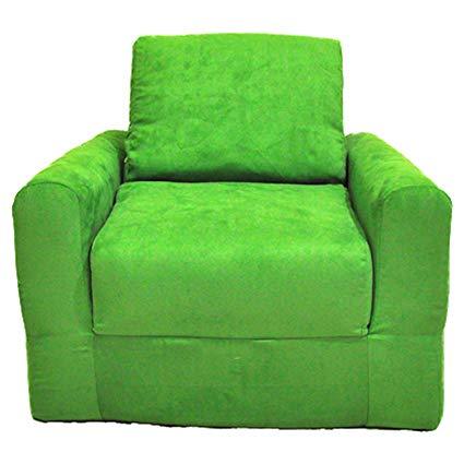 Fun Furnishings Chair Sleeper, Lime Green Micro Suede