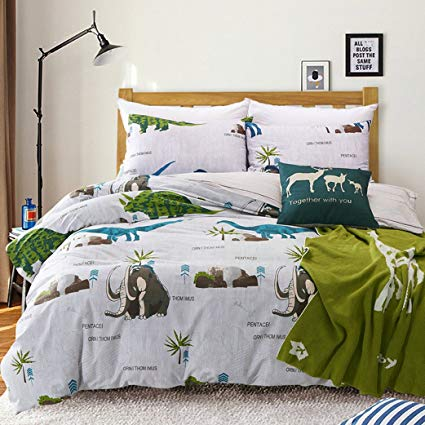 MAXYOYO Simple Cartoon Dinosaur Duvet Cover Set,Age of Dinosaurs Cotton Bedding Set for Kids Twin Full Queen Size (Full)