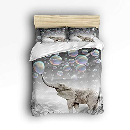 Family Decor Cute Animal Elephant Print Home Comforter Cover Bedding Sets Duvet Cover Sets Bedspread for Adult Kids, Flat Sheet, Shams Set 4 Pieces 4 Pcs Twin Size for Kids Teenage Teens