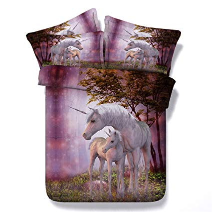 Two Cute Unicorn 3D Print Bedding Sheet Sets,100% Cotton Forest White Unicorn Horse Kids Duvet Cover No Comforter,King Size 4PC (1x Duvet Cover + 2x Pillowcase+ 1x Bed Sheet)