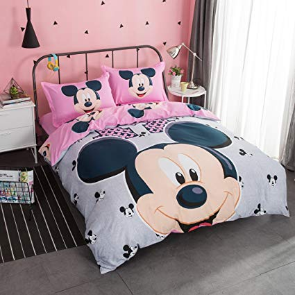 CASA 100% Cotton Kids Bedding Set Girls Mickey Series Minnie Duvet cover and Pillow cases and Flat sheet,girls,4 Pieces,King