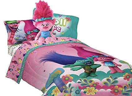 Trolls Troll Life Complete Reversible Comforter and Sheet Set with Poppy Pillow Buddy (Twin)