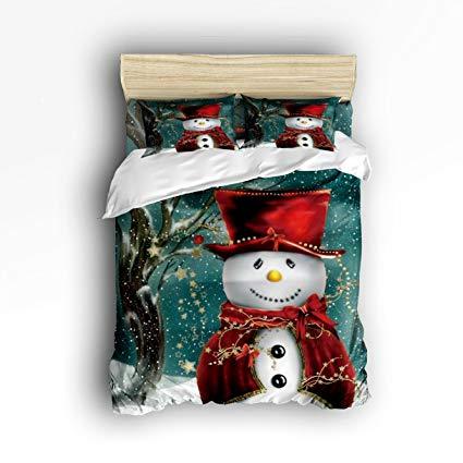Family Decor Snowman Winter Christmas Digital Print Home Comforter Cover Bedding Sets Duvet Cover Sets Bedspread for Adult Kids, Flat Sheet, Shams Set 4 Pieces 4 Pcs Twin Size for Kids Teenage Teens