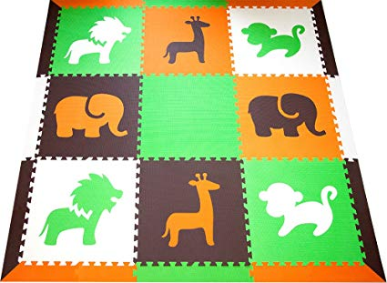 SoftTiles Interlocking Children's Foam Play Mats- Safari Animals Orange, Lime, Brown, and White- Premium Foam Mats for Kids Playrooms and Baby Nursery- (6.5' x 6.5') OLBW