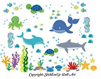 Baby Nursery Kids Children's Wall Decals: Sea Ocean Marine Life Mermaids Animals Wildlife Themed...