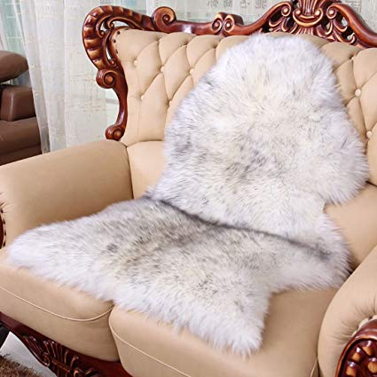 Genuine Natural Real Sheepskin Australian Fur Rug Chair Seat Pad Shaggy