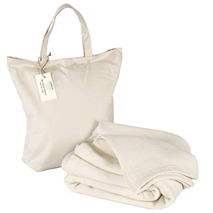 LIFEKIND Organic Cotton Thermal Twin Blanket with Bag (Ivory) Mini Square Weave
