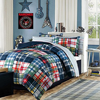 Modern Teen Bedding Boys Comforter Set Blue Red Green Yellow Plaid & Stripes Bed in a Bag Includes Bonus Emergency Pocket Flashlight From Switchback Outdoor Gear (Full)