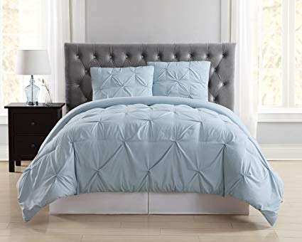 Truly Soft Everyday Pleated Duvet Set, Twin X-Large, Light Blue