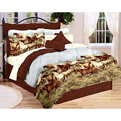 Majestic Running SHOW HORSES & PONIES Brown 8pc Comforter (86