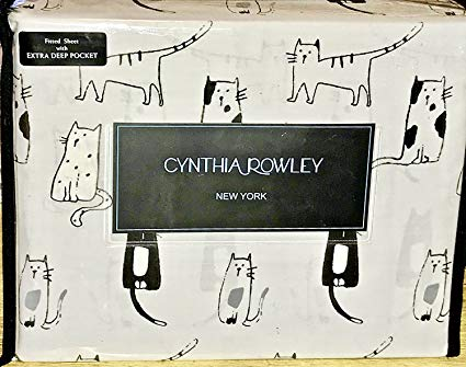 CATS KITTY CATS KING SIZE SHEET SET - cynthia rowley Cotton Sheet Sets