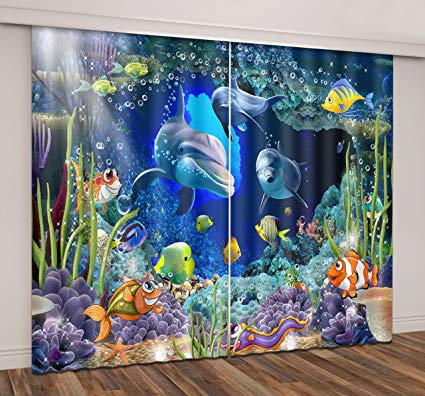 LB Underwater Window Curtains for Bedroom Living Room,Colorful Undersea with Fishes Dolphin Sea Plants Teen Kids Room Darkening Blackout Curtains Drapes 2 Panels,42 x 96 Inches