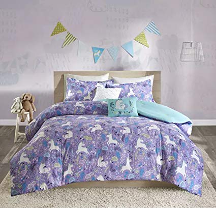 5 Piece Unicorn All Over Printed Pattern Comforter Set Full/Queen Size, Featuring Pony Flower Lead Cloud Design Comfortable Bedding, Casual Novelty Girls Kids Bedroom Decoration, Purple, Blue, Multi