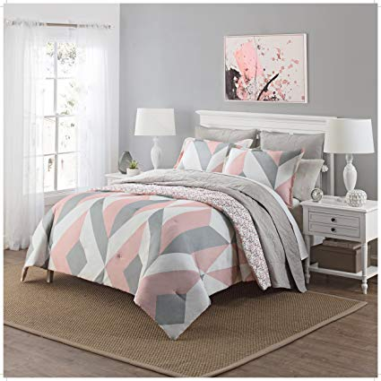3 Piece Girls Light Pink Grey White Geometric Polkadot Theme Comforter Queen Set, Beautiful Girly All Over Abstract Shape Polka Dot Bedding, Stylish Modern Small Polkadots Dots Themed Pattern, Gray